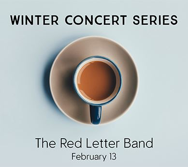 Coffee cup titled: Winter Concert Series, The Red Letter Band