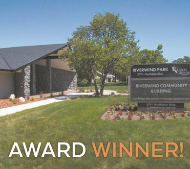 Exterior of Riverwind Park Building titled: Award Winner