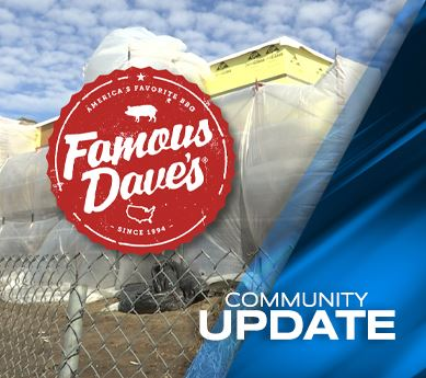 Photo of new construction site for Famous Dave's
