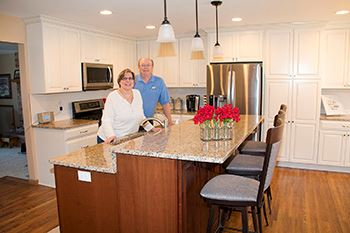 Brad and Cindy Thielke in remodeled kitchen