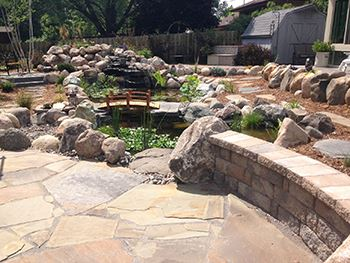 Backyard Oasis with slate walkway and pond 2