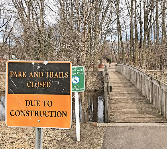 "Sign that says ""Parks and Trails Closed"""