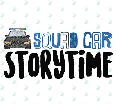 Squad Car Storytime logo with sketch of a police car