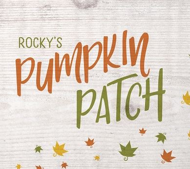 Rocky&#39s Pumpkin Patch logo in green and orange with falling leaves