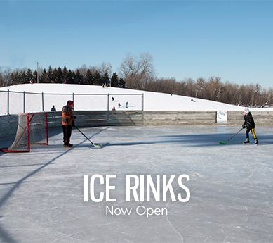 Ice rinks now open - skaters playing hockey